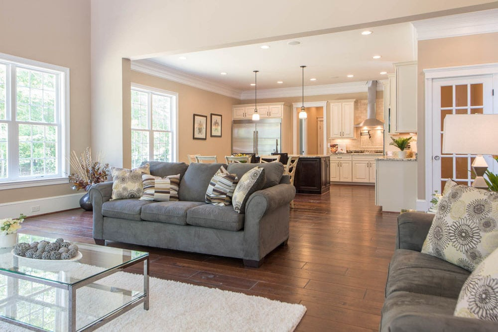 Angled view of Fairfax home living room and kitchen