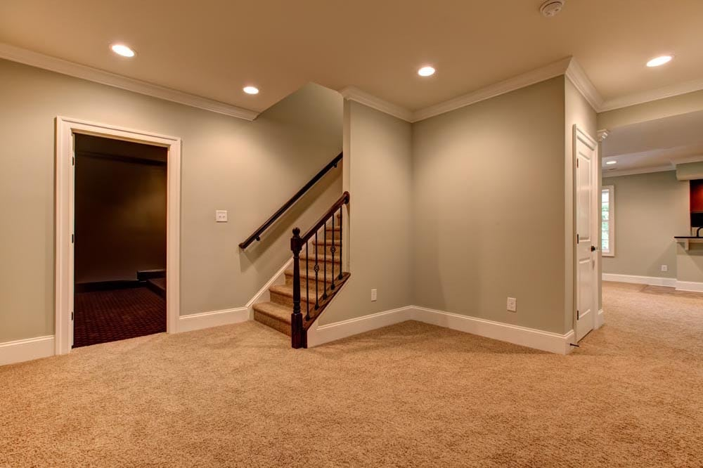 Basement stairs and room