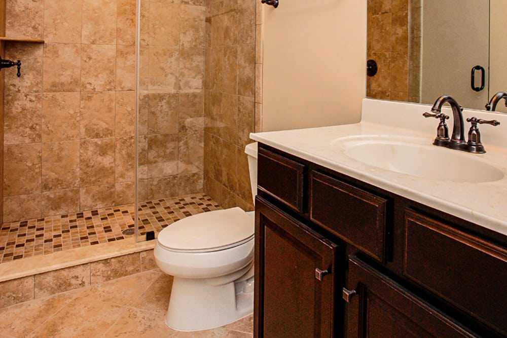 Brown stone shower with toilet and white countertop sink in Leesburg home