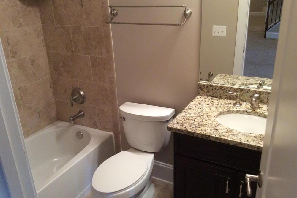 Close up of bathroom in a house on The Plains with granite countertop sink next to toilet next to brown stone shower