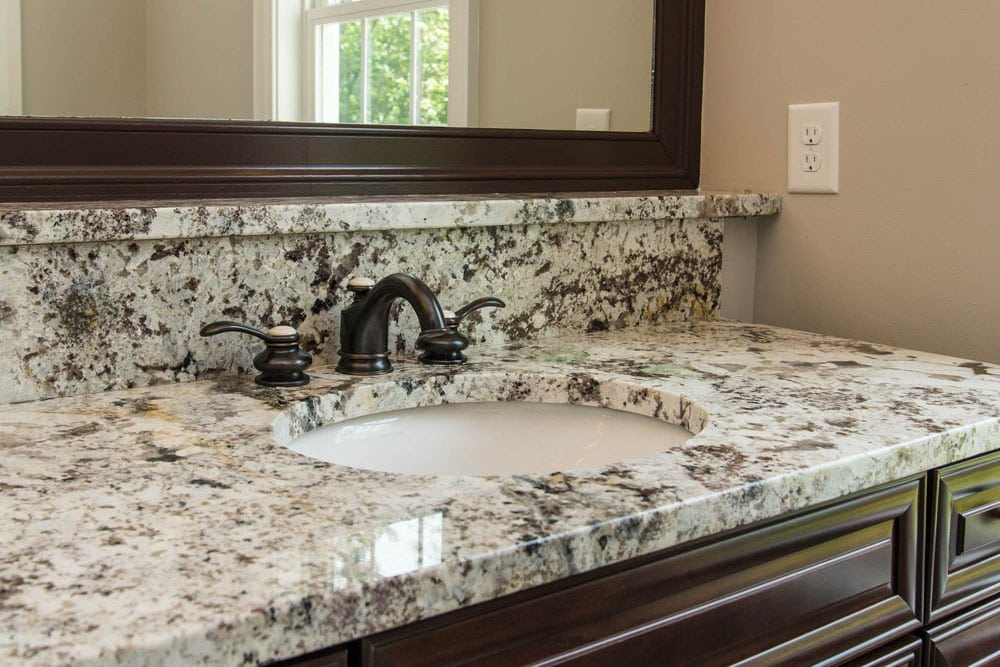 Close up of marbled sink
