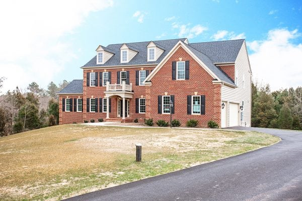 Front angled view of brick Warrenton house