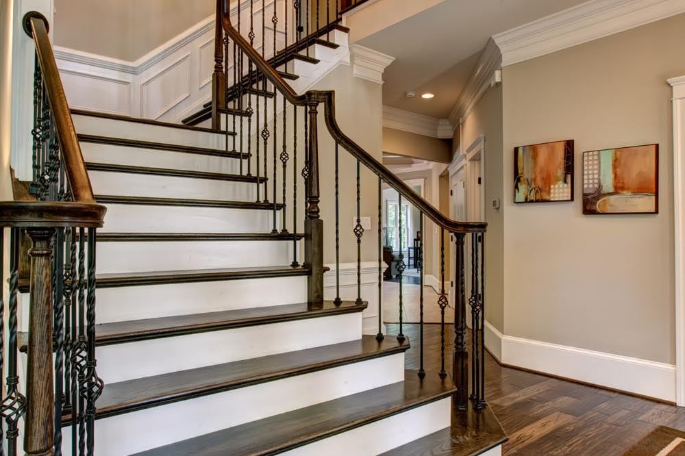Front stairs with dark brown and white steps