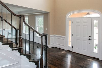 Interior front door and stairs inside Manassas house
