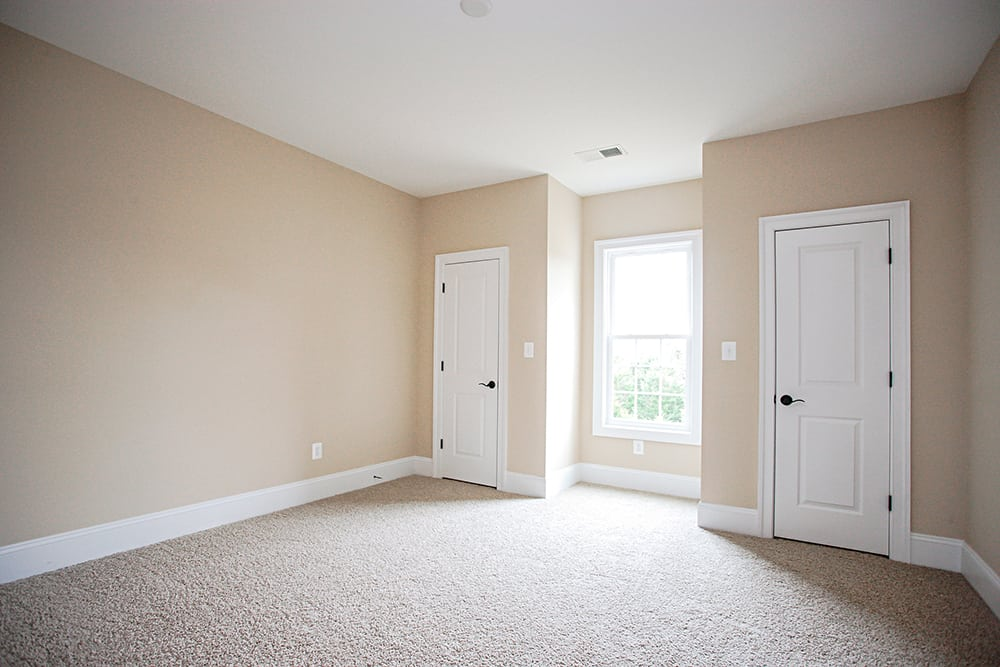 Large carpet room with two doors separated by a large window of Warrenton house