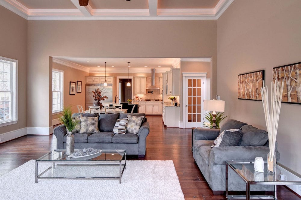 Living room-kitchen space in Fairfax home