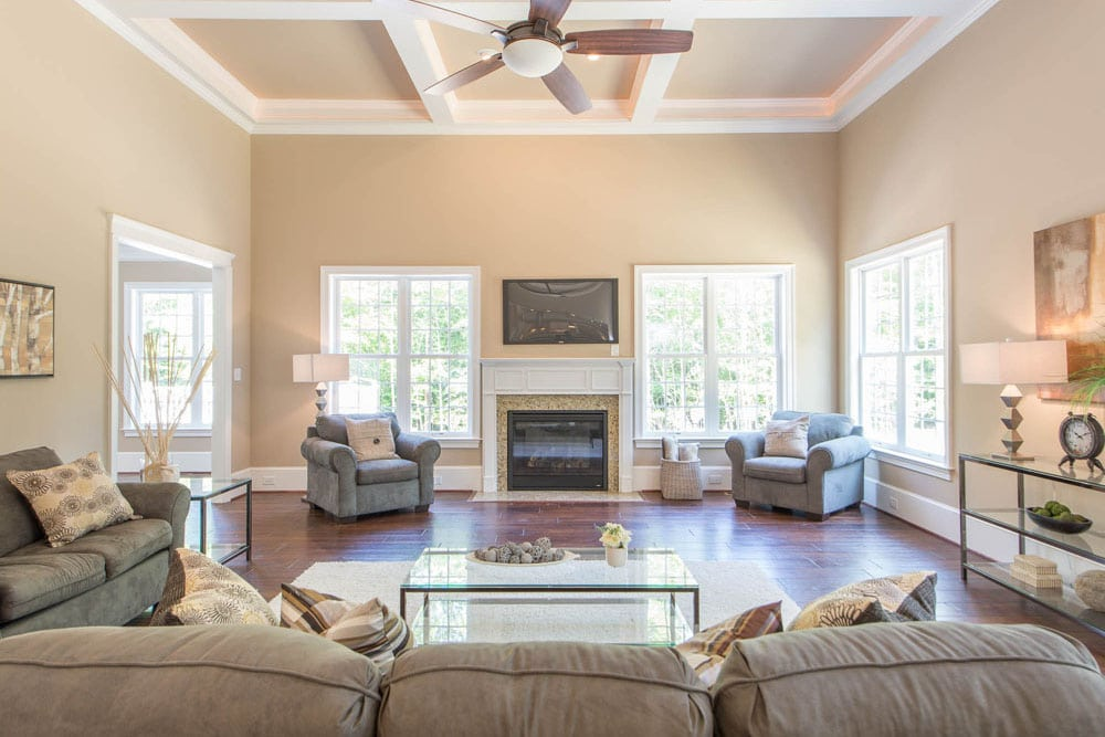 Living room with fireplace in Fairfax home