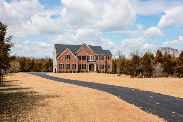 Long range view of Manassas house exterior with driveway