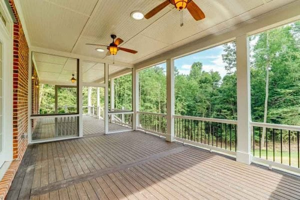 Outside screened in porch of Middleburg homewith fans