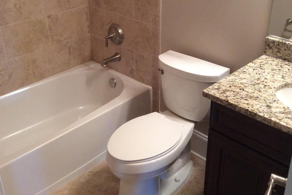 Smaller bathroom in a house on The Plains with granite countertop sink next to toilet next to brown stone shower