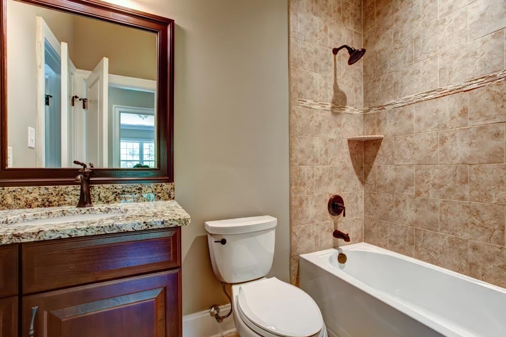 Smaller guest bathroom with shower