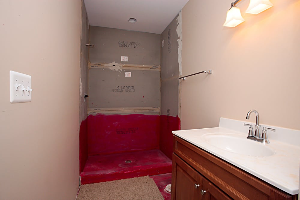 Unfinished bathroom inside Nokesville home