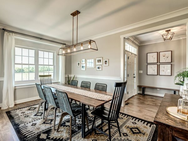 Dining room of custom built home built by a custom home builder in Northern Virginia